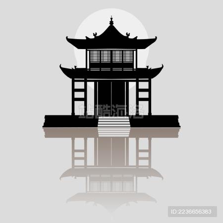 中国古建筑之亭台楼阁 矢量剪影素材