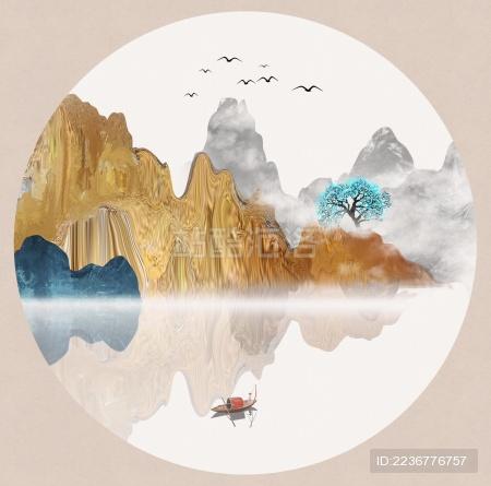 手绘中国风意境金色抽象山水风景画