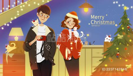 圣诞节欢乐拍照的恋人 抱着猫的女孩和拿着相机的男孩插画