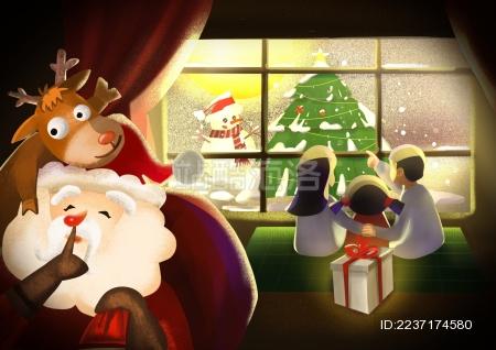 圣诞节圣诞老人给一个家庭送去圣诞礼物