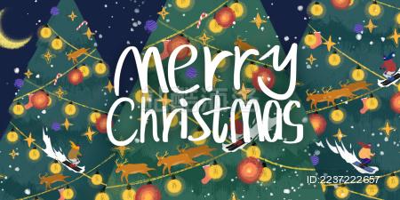 圣诞树上挂满彩灯装饰的节日插画展板