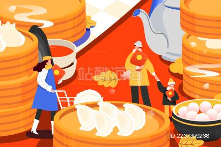 卡通冬至饺子蒸笼美食活动背景矢量插画