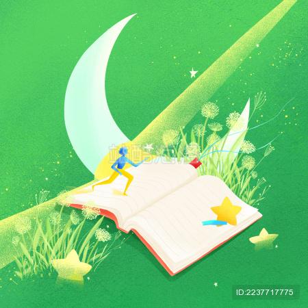 在蒲公英草地上书本上奔跑的人与星星插画