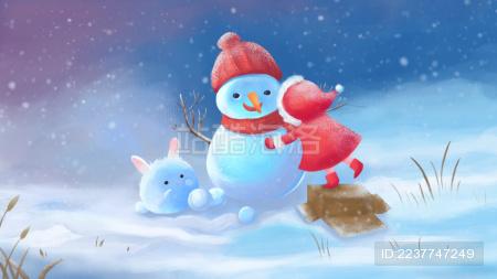 冬日女孩堆雪人插画