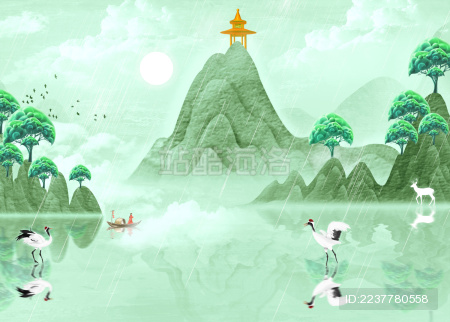 手绘中国风绿色立体山水画