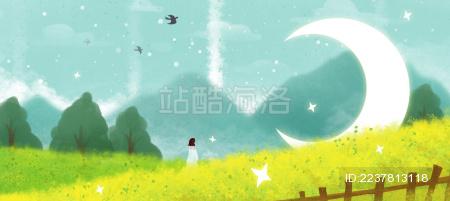 春天里油菜花下拿着鲜花的女孩和月亮长图