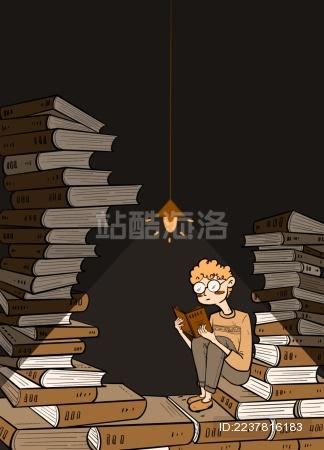 灯光下阅读的男孩