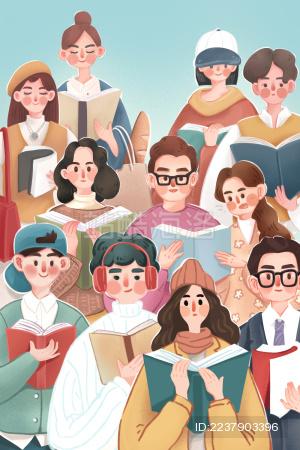 世界读书日全民阅读插画海报