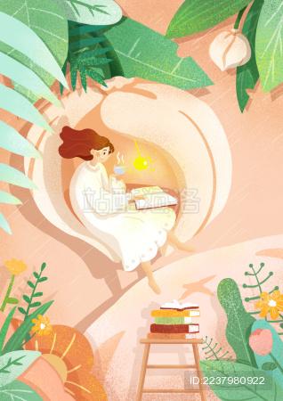 奇幻图书馆女孩阅读书籍