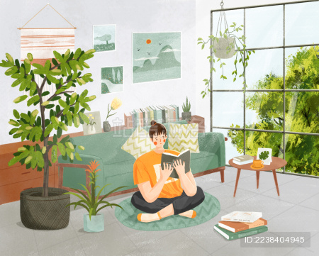 夏天室内坐在地毯上享受读书时光的女孩