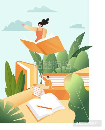 女孩坐着书飞翔的插画