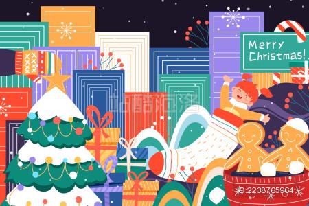 圣诞节儿童矢量插画
