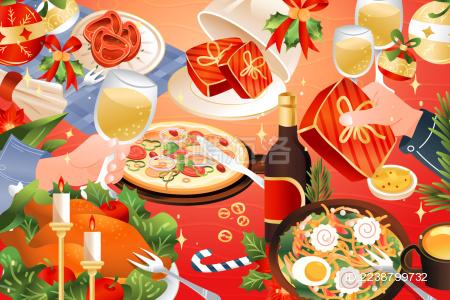 圣诞节西餐美食矢量插画