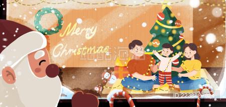 冬天圣诞老人爬窗户看屋里一家人过节
