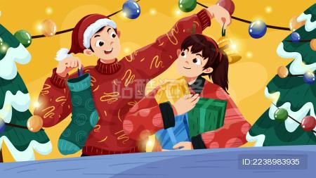 圣诞节 人物插图