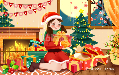 快乐圣诞节女孩小狗礼物插画