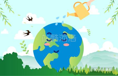 绿色地球环保的矢量插画
