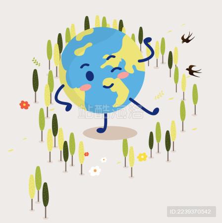 树林里的可爱地球
