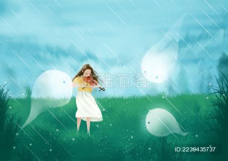 清明节小女孩悲伤的拉小提琴