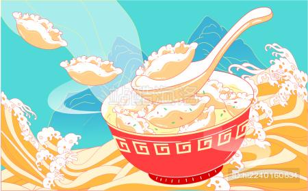 立冬吃饺子插画冬至节气春节美食国潮风海报
