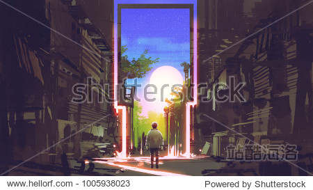 young boy standing in abandoned city looking at the magic gate with beautiful place  digital art style  illustration painting