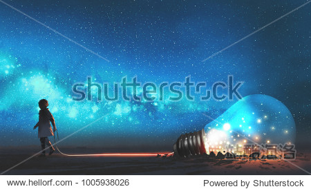 boy pulled the big bulb half buried in the ground against night sky with stars and space dust  digital art style  illustraation painting
