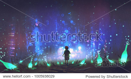 night scenery of boy walking on the floor among many glowing green bottles  digital art style  illustration painting