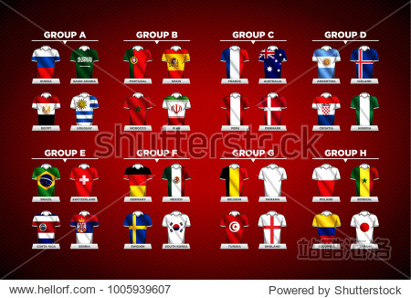 Vector country flags on shirts