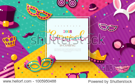 Carnaval funfair card with square frame  photo booth props and masks on colorful modern geometric background. Vector illustration. Place for your text.