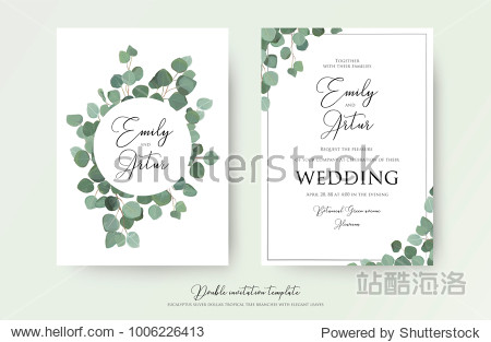"""Wedding floral watercolor style double invite  invitation  save the date card design with cute Eucalyptus tree branches with greenery leaves decoration. Vector natural elegant  rustic luxury template"