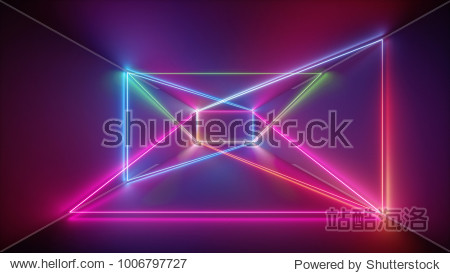 3d rendering  glowing lines  neon lights  abstract psychedelic background  purple  pink blue vibrant colors