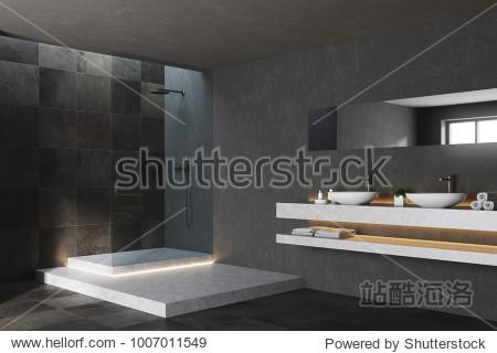 Black and tiled bathroom corner with a black tiled floor  a tub and a shower. 3d rendering mock up