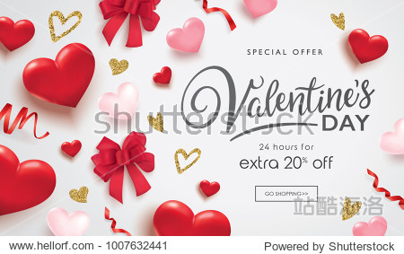 Valentines day sale poster with 3D hearts  ribbons and golden glitter hearts