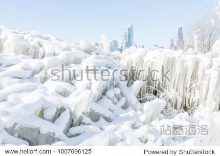 Frozen trees covered in ice by the lake Michigan in Chicago downtown