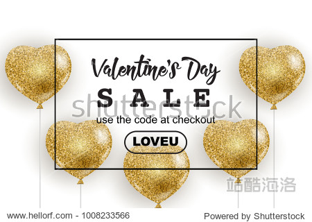 Valentine's Day sale web banner  flyer concept. Golden glitter cute balloons in shape of heart  isolated on white background  black frame  promo text  vector illustration.