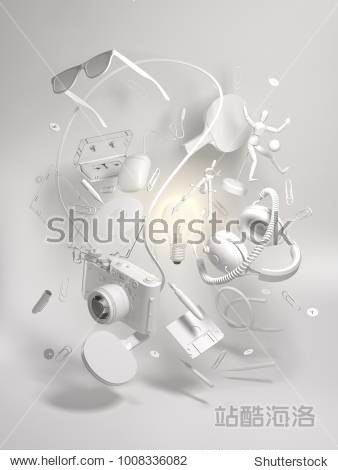 3d clay rendering group objects flying around light bulb. Creativity concept  thinking and get bright idea.  Monochrome elements on white background.