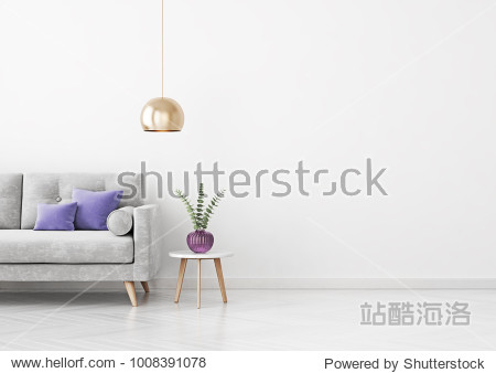 Livingroom interior wall mock up with grey velvet sofa  violet pillows  hanging lamp  vase and coffee table on empty white background. 3D rendering.