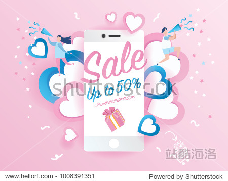 Sale promotion on mobile phone design for banner sale with lovely joyful couple celebration in pink background. pink heart and love.Vector illustration.