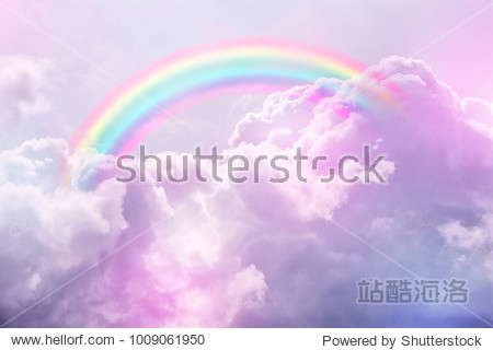 fantasy magical landscape rainbow on sky abstract big volume texture fluffy clouds shine close up view straight  cotton wool  pink purple pastel colors sun fabulous background