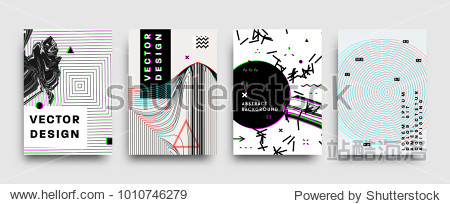 Covers templates set with bauhaus  memphis and hipster style graphic geometric and glitch elements. Applicable for placards  brochures  posters  covers and banners. Vector illustrations.