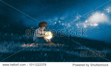 night scene showing young boy with a little moon in his hands sitting on meadow  digital art style  illustration painting