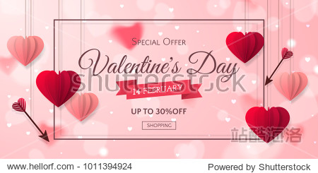 Vector romantic template of sale horizontal banner for Valentine's Day with red and pink realistic paper hearts  arrows  ribbon and frame. Holiday blur background for discount and special offers.