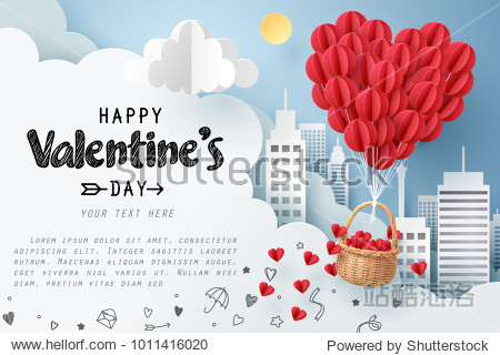 Paper art of group of red balloons combine to heart shape with doodles love icon and copy space  origami and happy valentine's day concept  vector art and illustration.