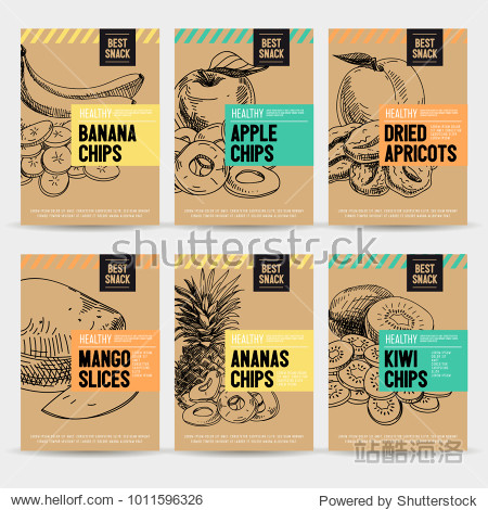 Beautiful vector hand drawn healthy snack card set. Detailed trendy style images. Modern sketch elements collection for packaging design.