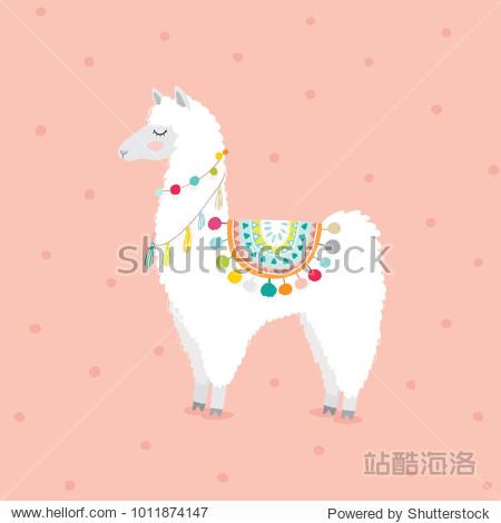 cute hand drawn llama for baby girl nursery