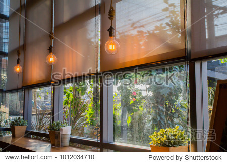 roll blinds to protect sunlight and lighting to decorate the coffee shop.