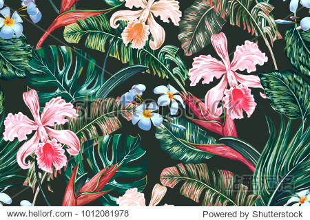 Tropical floral seamless vector pattern background with exotic flowers  palm leaves  jungle leaf  orchid  bird of paradise flower. Botanical wallpaper illustration in Hawaiian style