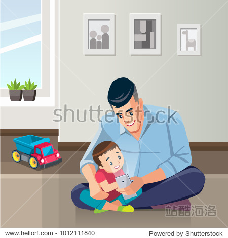 Father and son are using smartphones and smiling while spending time together at home. Concept Fatherhood child-rearing. Vector illustration