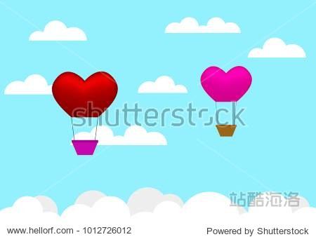Heart air balloon in the sky. valentine's day background