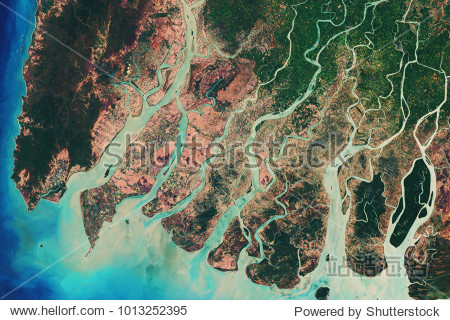 River delta of the Irrawady  a river that flows from north to south through Myanmar - Modified elements of this image furnished by ESA